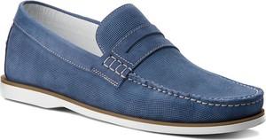 Niebieskie półbuty Gino Rossi w stylu casual ze skóry