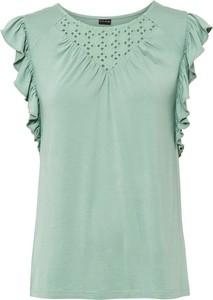 Zielona bluzka bonprix z okrągłym dekoltem bez rękawów