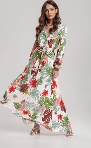 Sukienka Renee rozkloszowana z dekoltem w kształcie litery v maxi