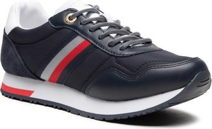 Granatowe buty sportowe Tommy Hilfiger z płaską podeszwą ze skóry sznurowane