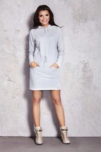 Sukienka Awama z długim rękawem mini z dekoltem w kształcie litery v