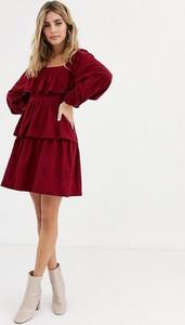 Czerwona sukienka Asos Design mini oversize z długim rękawem