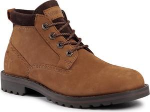 Brązowe buty zimowe Wrangler sznurowane w stylu casual