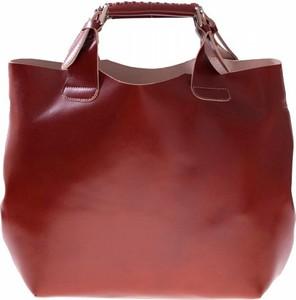 Brązowa torebka Vera Pelle na ramię duża w stylu casual