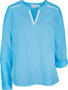 Niebieska bluzka bonprix z dekoltem w kształcie litery v