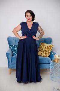 Niebieska sukienka tono.sklep.pl z dekoltem w kształcie litery v maxi oversize