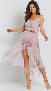 Sukienka Ivon z dekoltem w kształcie litery v midi asymetryczna