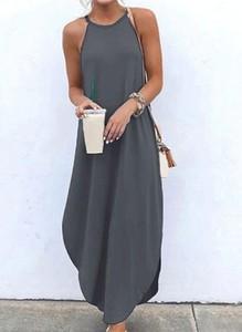 Sukienka Cikelly bez rękawów z dekoltem halter prosta
