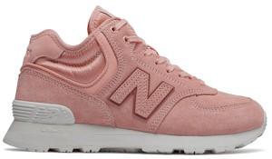 Różowe buty sportowe New Balance sznurowane z zamszu