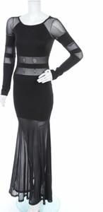Czarna sukienka A-view z długim rękawem z okrągłym dekoltem