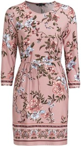 Różowa sukienka Happy Holly w stylu casual z dżerseju z długim rękawem