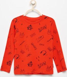 Czerwona koszulka dziecięca Reserved z długim rękawem