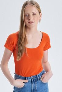 Pomarańczowy t-shirt Cropp z krótkim rękawem
