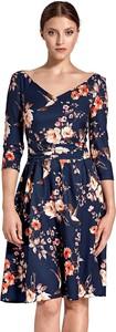 Niebieska sukienka Colett z dekoltem w kształcie litery v