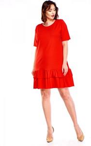 Sukienka Omnido.pl z okrągłym dekoltem z dresówki z krótkim rękawem