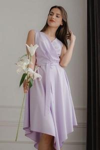 Fioletowa sukienka LENITIF z dekoltem w kształcie litery v