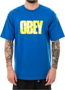Niebieski t-shirt Obey w młodzieżowym stylu