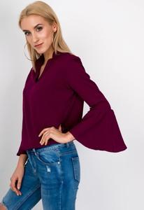 Czerwona bluzka Zoio z dekoltem w kształcie litery v z bawełny