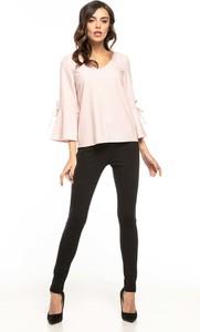 Różowa bluzka Tessita z dekoltem w kształcie litery v z długim rękawem