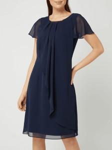 Granatowa sukienka Swing z okrągłym dekoltem z szyfonu w stylu casual