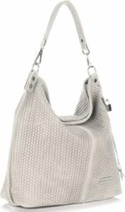 Uniwersalne torebki skórzane typu shopperbag vittoria gotti jasno beżowe