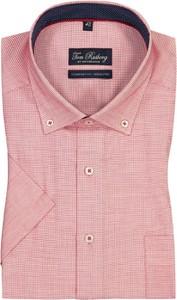 Różowa koszula Tom Rusborg z bawełny z klasycznym kołnierzykiem