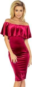 Fioletowa sukienka NUMOCO hiszpanka z krótkim rękawem midi