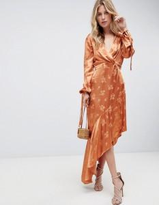 Pomarańczowa sukienka Asos Design z dekoltem w kształcie litery v