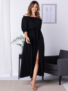 Sukienka Grandio maxi hiszpanka z długim rękawem