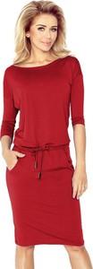Czerwona sukienka NUMOCO z długim rękawem midi sportowa