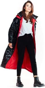 Czarny płaszcz Awama w stylu casual z tkaniny