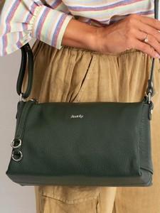 Zielona torebka Rovicky ze skóry w stylu casual na ramię
