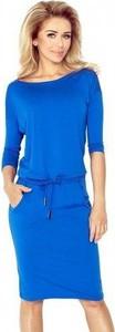 Niebieska sukienka NUMOCO z długim rękawem w sportowym stylu midi