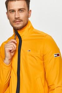 Żółta kurtka Tommy Jeans w stylu casual z tkaniny krótka