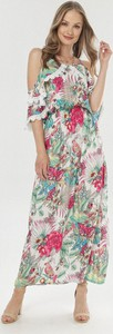 Sukienka born2be maxi w stylu boho z okrągłym dekoltem