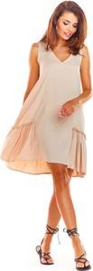 Sukienka Awama bez rękawów z dekoltem w kształcie litery v