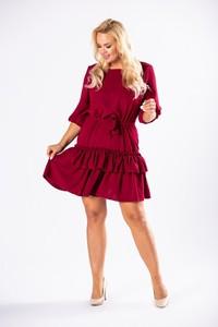 Czerwona sukienka candivia.pl z długim rękawem mini