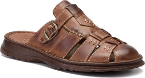 Brązowe buty letnie męskie Łukbut z klamrami w stylu casual