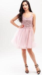 Sukienka Butik Ecru z okrągłym dekoltem rozkloszowana mini