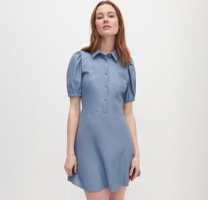 Niebieska sukienka Reserved z krótkim rękawem w stylu casual z jeansu