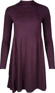 Fioletowa sukienka Vero Moda z golfem w stylu casual z długim rękawem