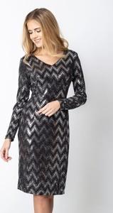 Czarna sukienka QUIOSQUE midi z dekoltem w kształcie litery v