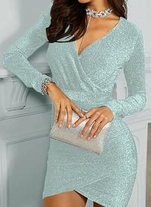 Srebrna sukienka Arilook prosta z długim rękawem mini