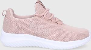 Różowe buty sportowe Lee Cooper sznurowane w sportowym stylu z płaską podeszwą