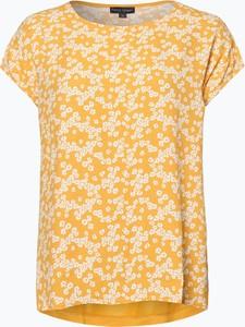 Żółty t-shirt Franco Callegari w stylu casual z krótkim rękawem z okrągłym dekoltem