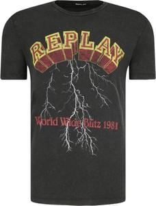 T-shirt Replay z krótkim rękawem w młodzieżowym stylu z nadrukiem