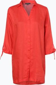 Pomarańczowa koszula Franco Callegari z kołnierzykiem z krótkim rękawem w stylu casual