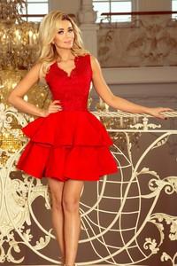 Czerwona sukienka NUMOCO rozkloszowana z dekoltem w kształcie litery v bez rękawów