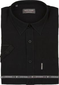 Czarna koszula Aldo Vrandi z bawełny z krótkim rękawem z klasycznym kołnierzykiem