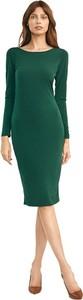 Zielona sukienka Nife z okrągłym dekoltem midi z długim rękawem
